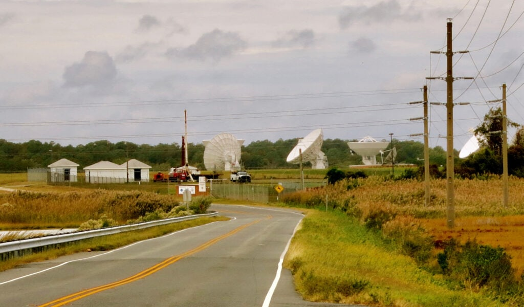 Satellite dishes on Road to Chincoteague VA