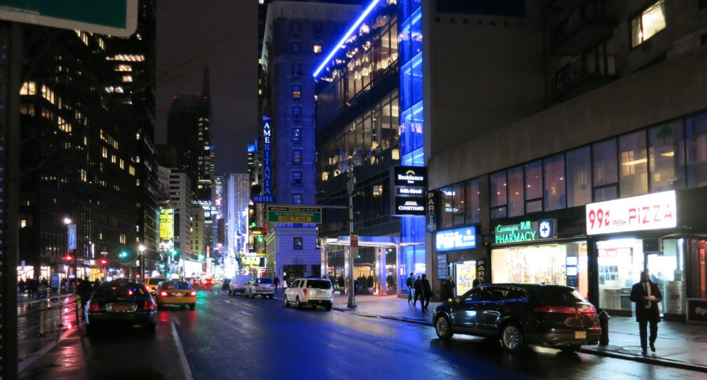 Night view down Broadway from 55th to Times Square, Midtown Manhattan