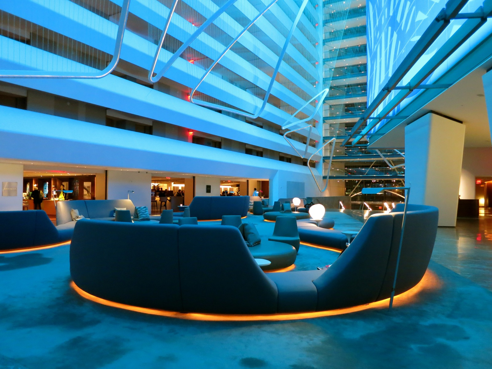Stunning Conrad Hotel Nyc Lobby In Teal Light With Cool Designs