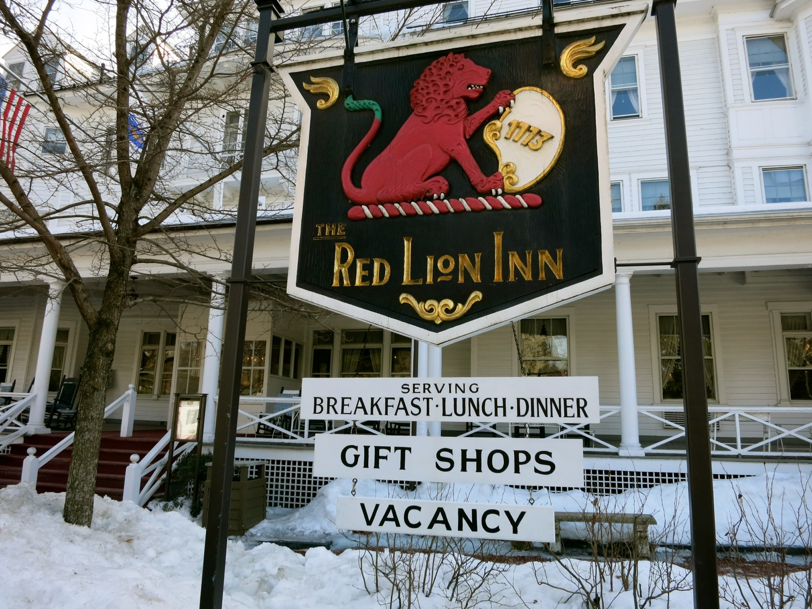 Exterior Of The Red Lion Inn In Winter Stockbridge Ma
