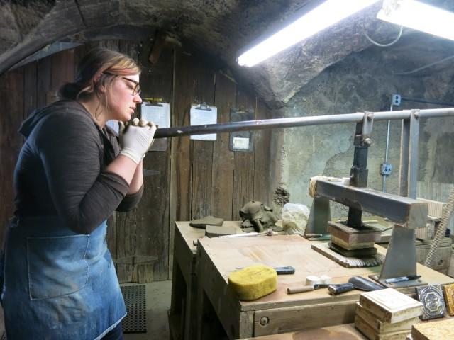 Hand pressed tile making at Moravian Tileworks, Doylestown PA