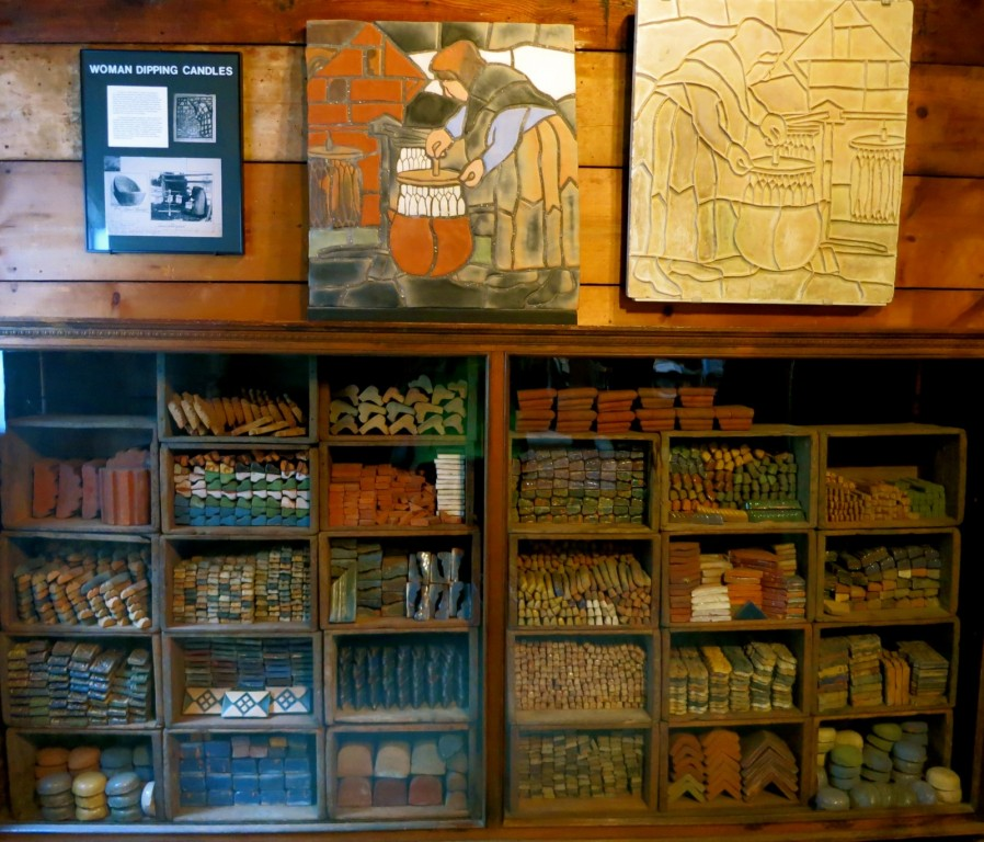 Moravian Tile Works pieces, Doylestown in Central Bucks County PA