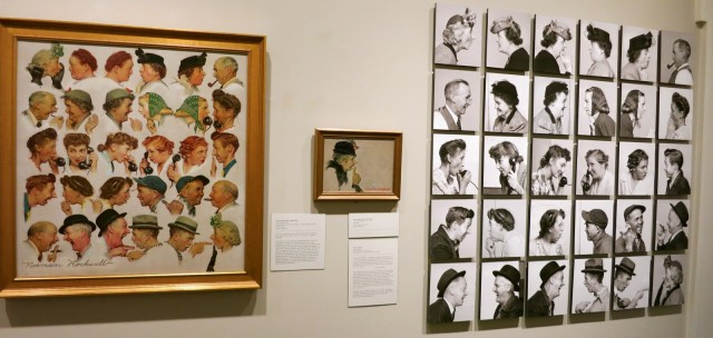The Gossips: photos and Norman Rockwell's end result, Rockwell Museum, Stockbridge MA