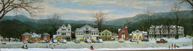 Norman Rockwell scene of Main Street Stockbridge MA with Red Lion Inn on right (dark)