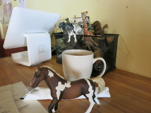 Take an animal and wait for your order: Beehive Cafe, Bristol RI