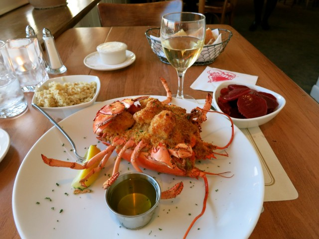 Lobster Pot Restaurant, Signature Stuffed Baked Lobster, Bristol RI