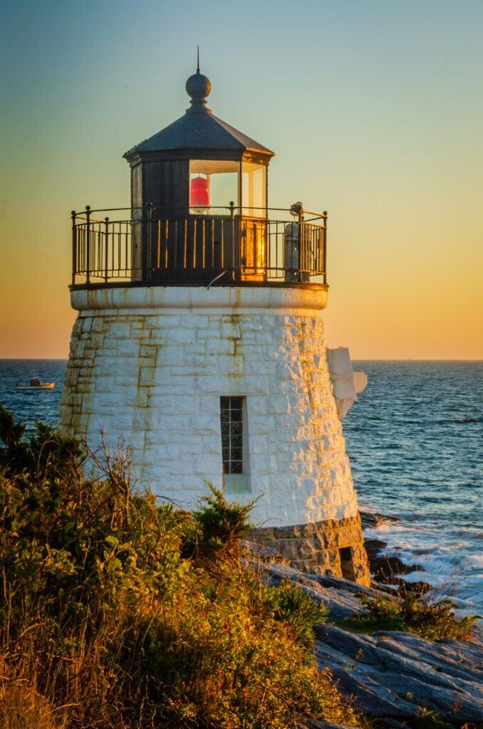 Lighthouse at Sunset - Castle Hill Inn
