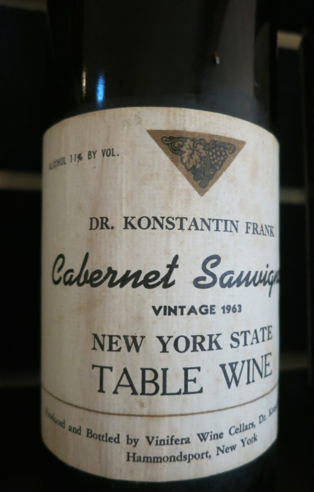 An Early Dr. Konstantin Frank Cabernet Sauvignon, 1963 Vintage owned by Jeff Ingersoll of McCorn Winery Lodging