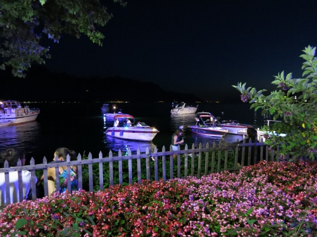Boats anchored offshore for the Montreux Jazz Festival