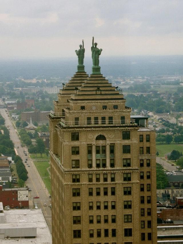 Two 30 ft. Statue of Liberty Replicas Face East and West Atop the Liberty Building, Buffalo NY