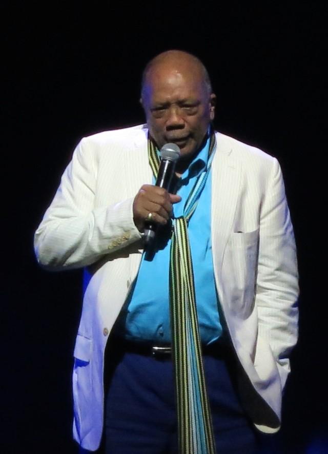Annual Montreux Jazz Fest Guest, Quincy Jones introducing friends Herbie Hancock and Wayne Shorter