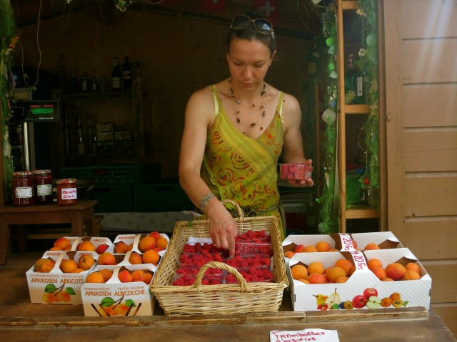 Roadside Stand in the Valley of the Apricots Between Switzerland and Italy