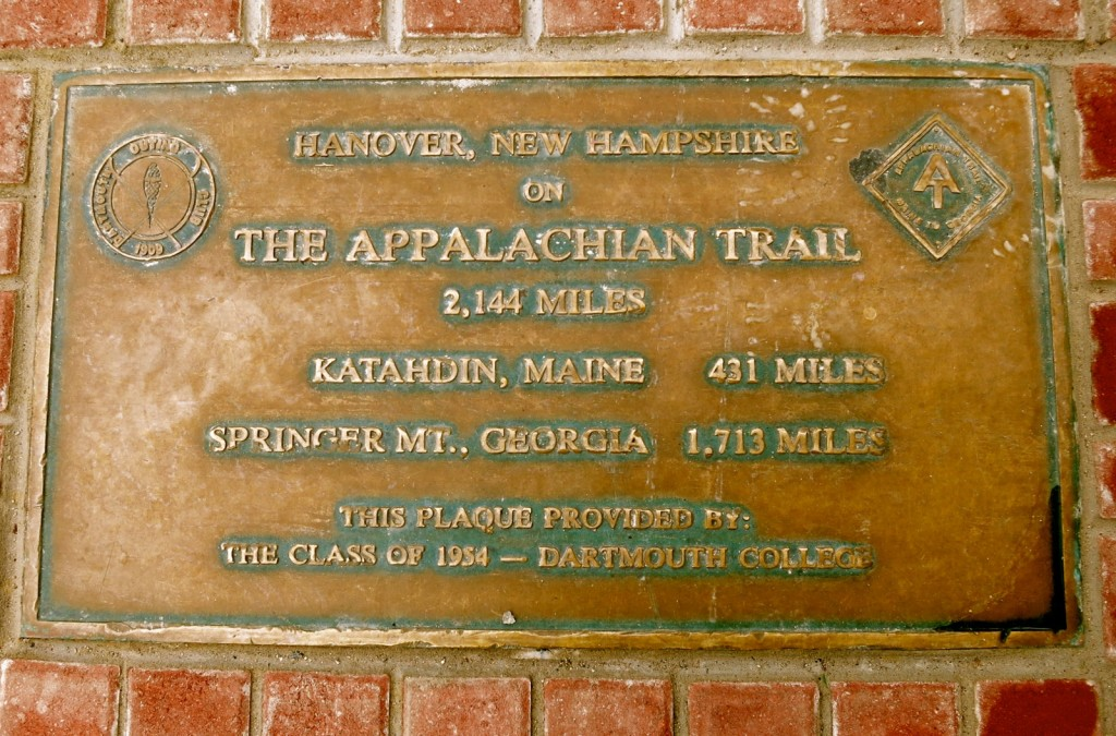 Appalachian Trail Plaque embedded in sidewalk outside the Hanover Inn, Hanover NH