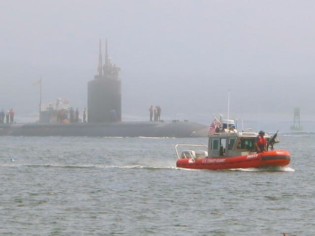 Submarine coming into Portsmouth Harbor