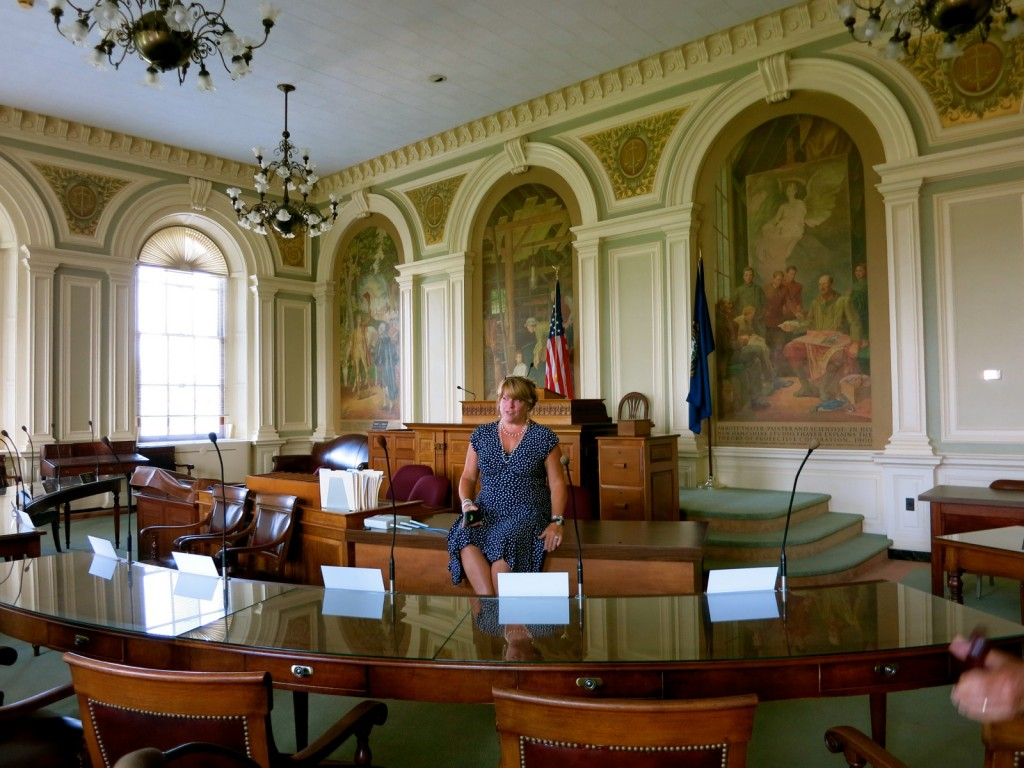 Visitor Center's Director, Virginia Drew, conducting tour of NH Senate Chamber, Concord NH