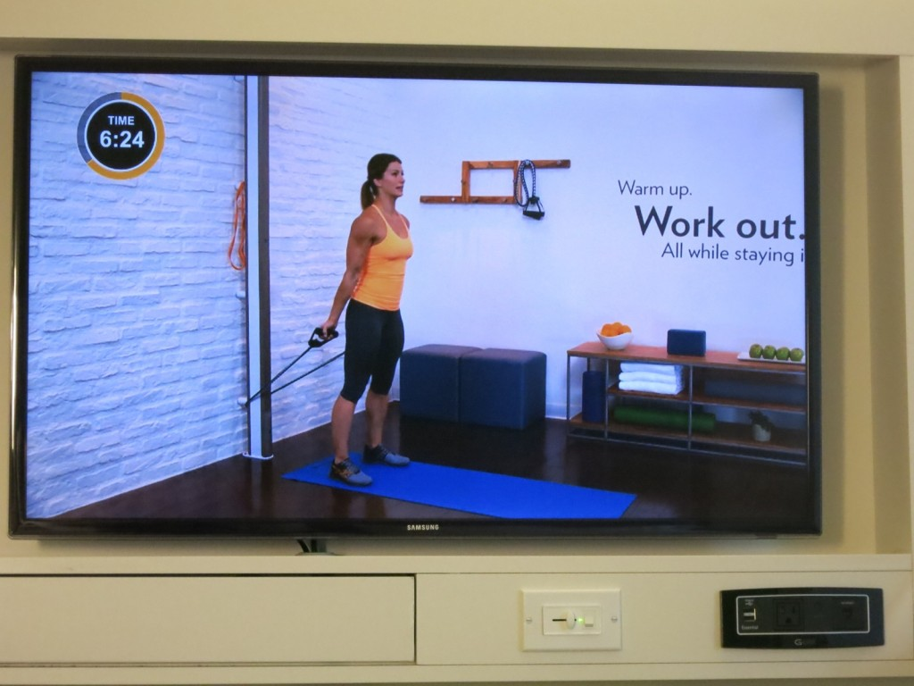 Big Looser trainer, Jennifer Widerstrom, guides you through in-room workout, Even Hotel Norwalk CT