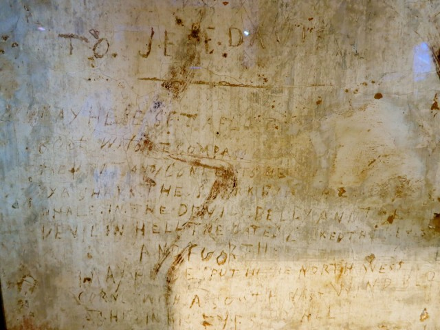 Civil War Prison Graffiti damning Jefferson Davis to Hell at Courthouse Museum, Winchester VA
