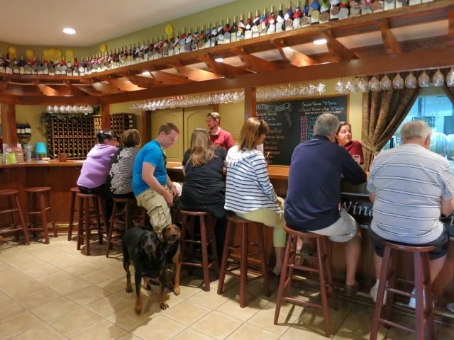 Dogs in Tasting Room at Keswick Vineyards