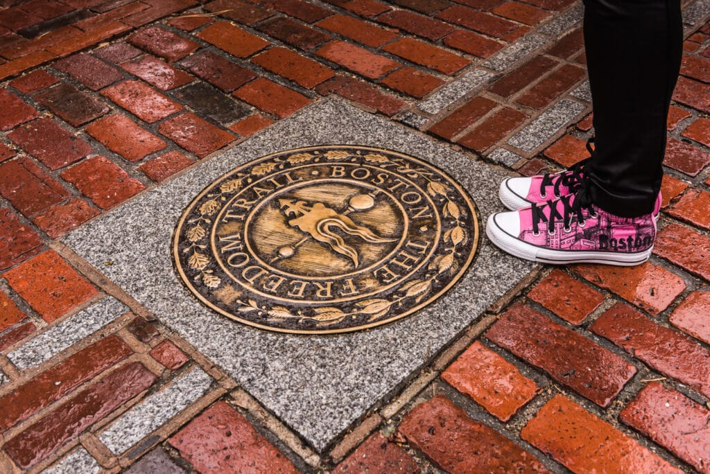 The Freedom Trail is a 2.5-mile-long path through downtown Boston, Massachusetts, that passes by 16 locations significant to the history of the United States.