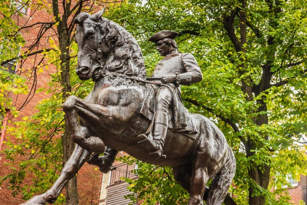 Paul Revere statue at Paul Revere Mall.
