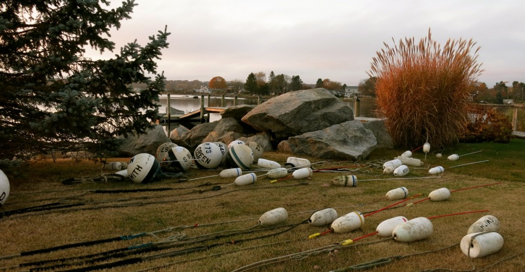Lobster Trap Buoys on land off season in Stonington CT