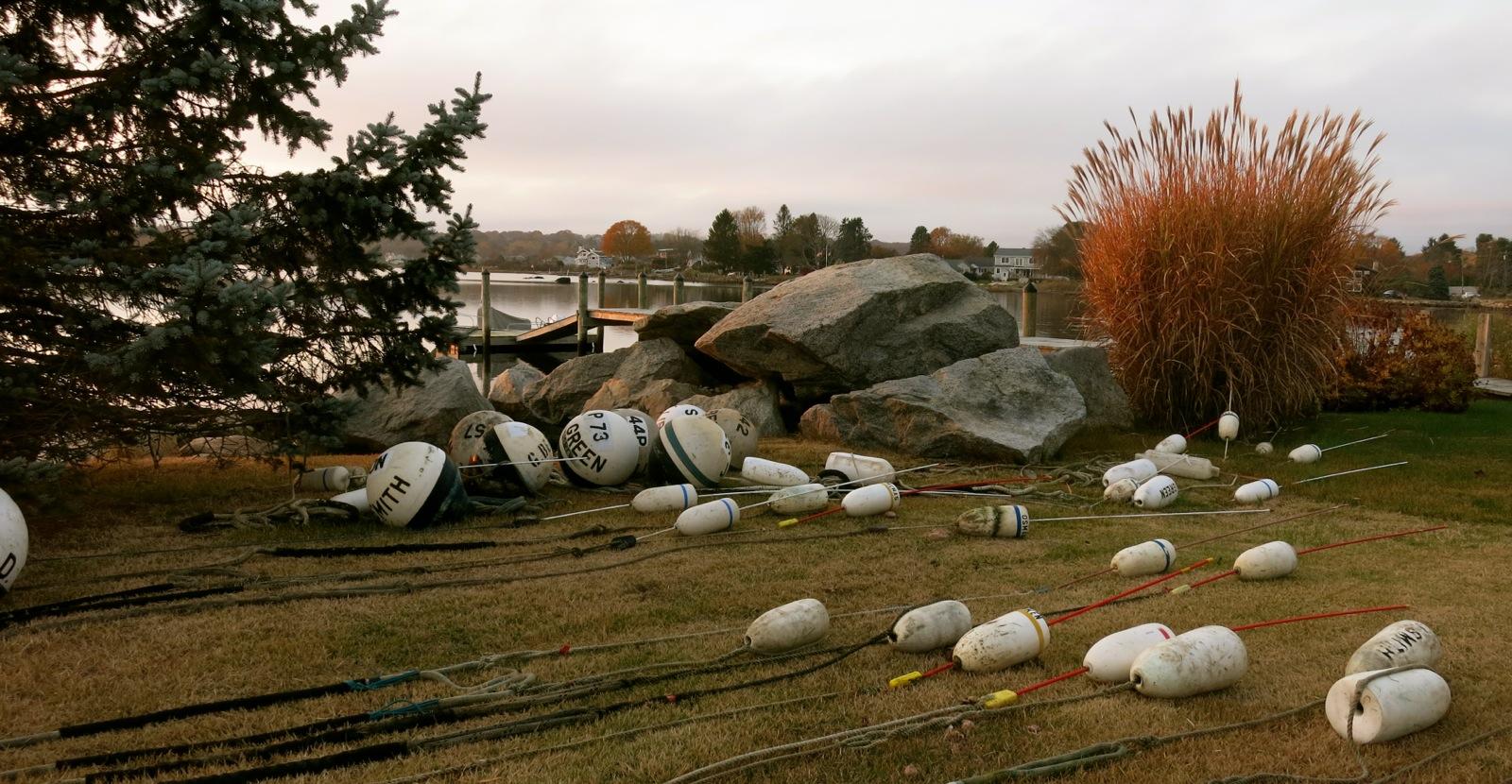 Lobster Trap Buoys on land off season in Stonington CT