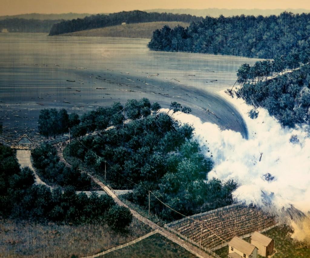 Depiction of Dam Breaking in Johnstown PA