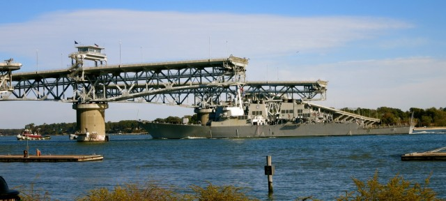 Destroyer Going Through Coleman Swing Bridge