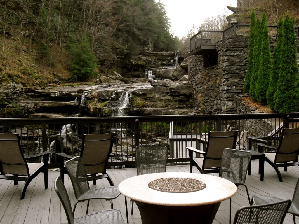 Cascading waterfall off the deck of Ledges Hotel Hawley PA