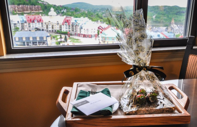 Fairmont Tremblant Welcome Gift of chocolate-covered strawberries dressed in tuxedos.