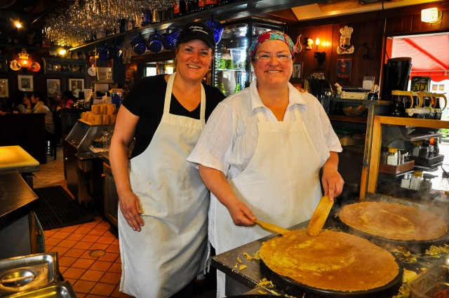 Catherine and Lorraine, sister chefs and proprietors at Creperie Catherine.