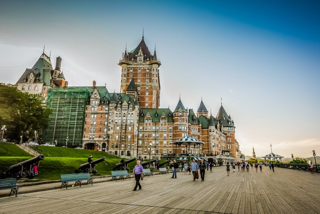 Facing Château Frontenac from Terrasse Dufferin, Quebec City's boardwalk.