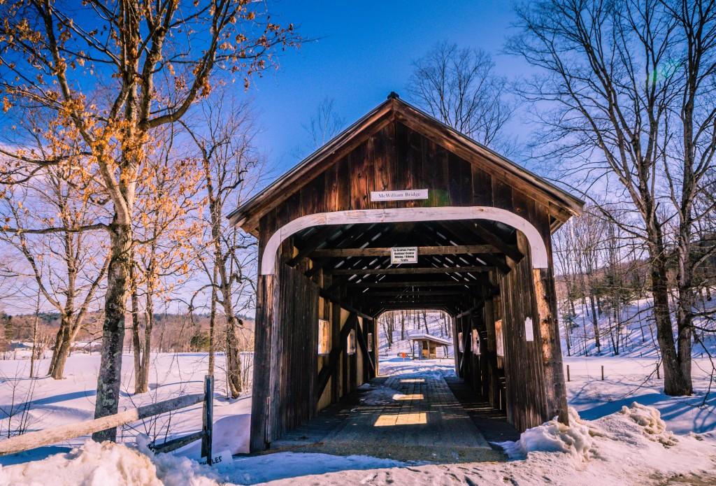McWilliam Bridge, a covered bridge at Grafton Ponds Outdoor Center in Grafton, VT.
