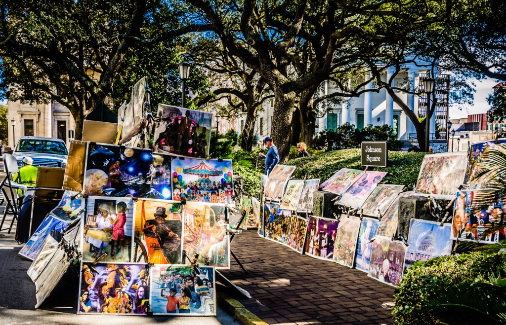 Paintings on sale at Johnson Square in Savannah, GA.