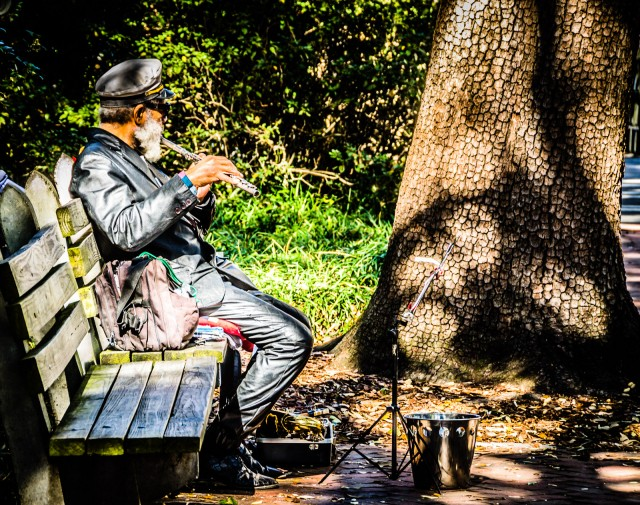 Man playing a flute, sitting on park bench at Johnson Square in Savannah, Georgia.