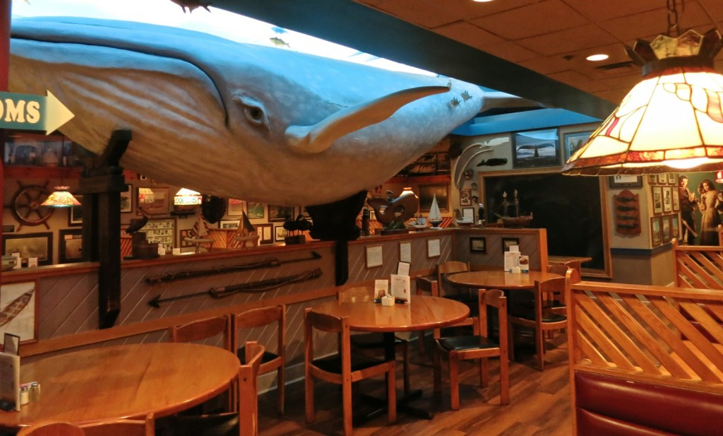Blue Paper Mache Whale at Coopers Seafood Scranton