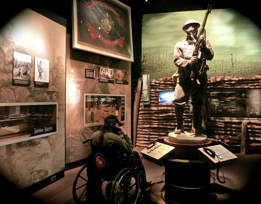 Injured vet at National Museum of the Marine Corps