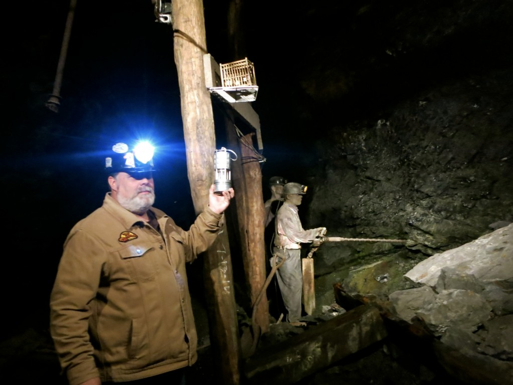 Lewis Graver demonstrating Flame Safety Lamp on Lackawanna Coal Mine Tour