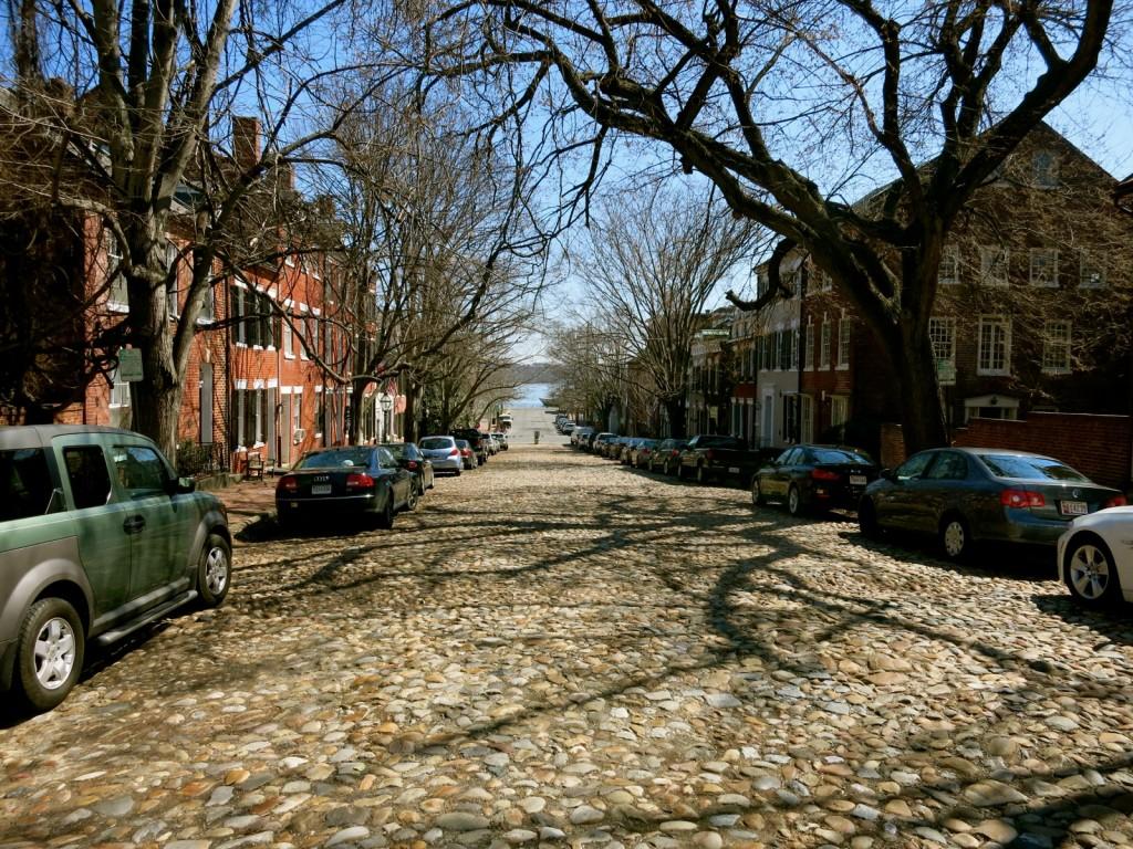 Cobblestone street in Old Alexandria VA