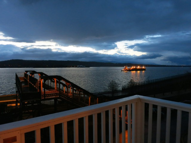 View of Hudson River at night from Rhinecliff Hotel room