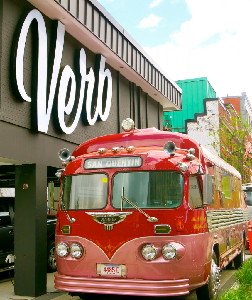 VW bus in front of The Verb Hotel Boston