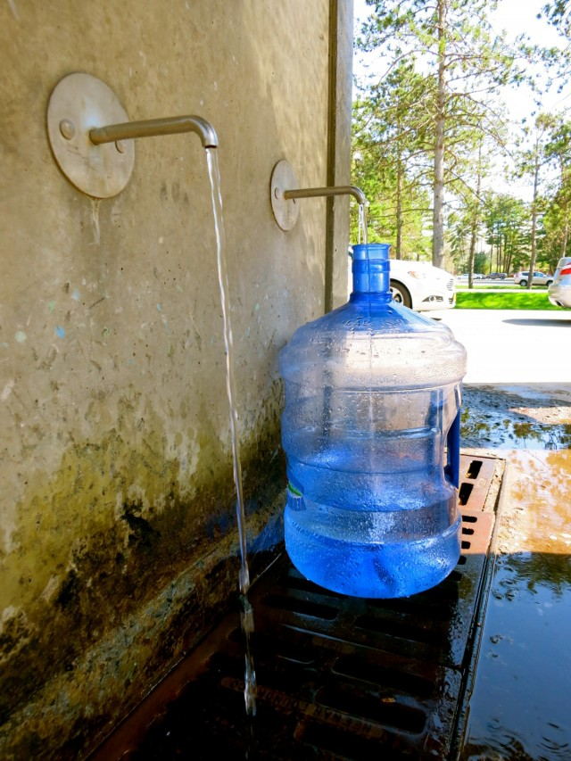 Filling up bottles with Saratoga Spring Water