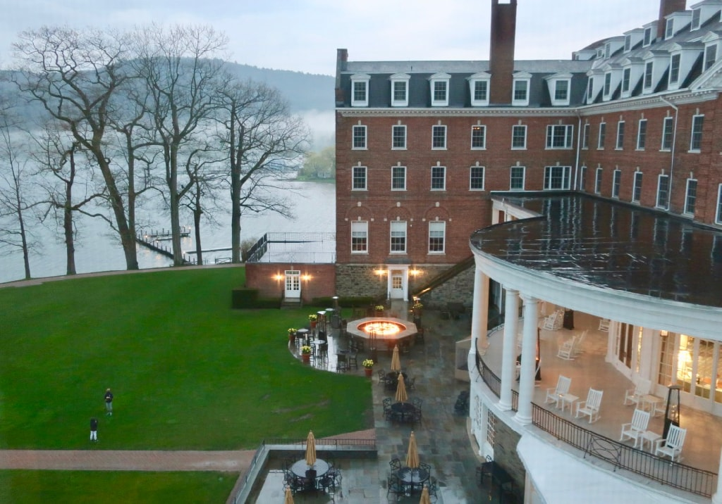 Fire Pit kids throwing ball view from suite at Otesaga Resort Hotel
