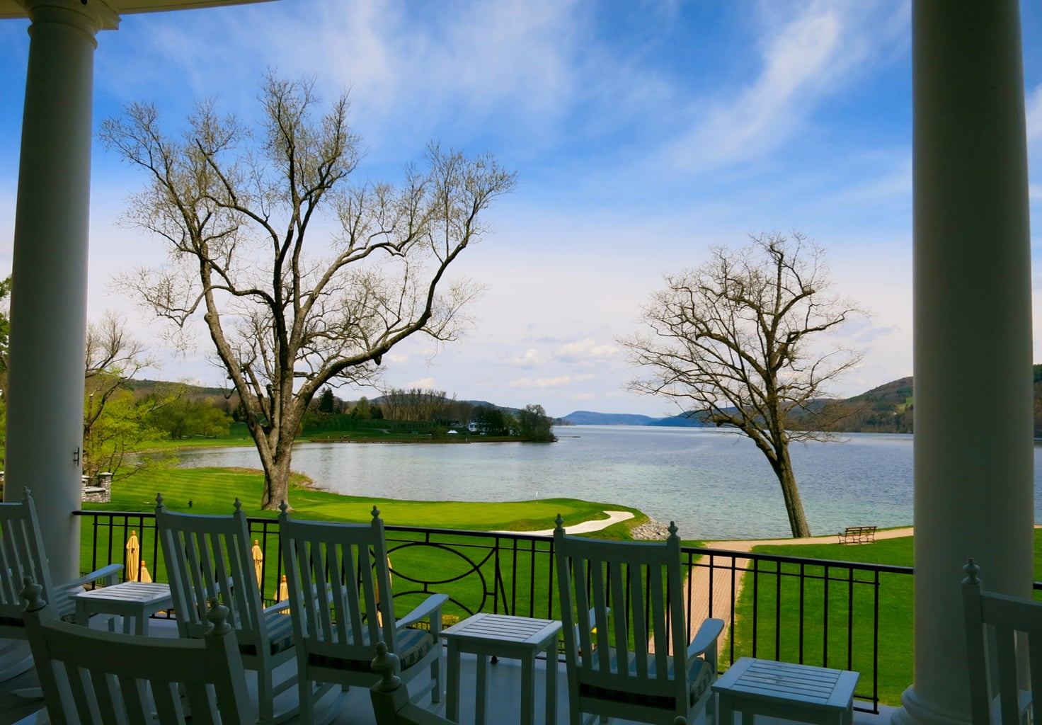 View of Leatherstocking Golf Course fro Otesaga Hotel deck Cooperstown NY