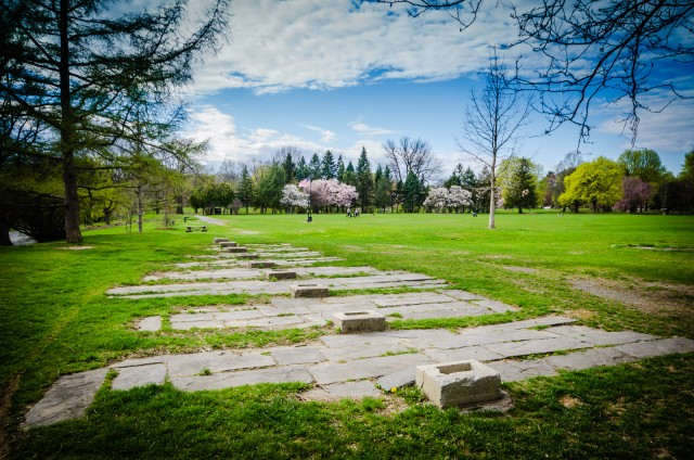 Washington Park ruins - Remains of Victorian-era ornate water fountain shelter laid out next to open space once used for croquet. #Albany #NY #history @GetawayMavens