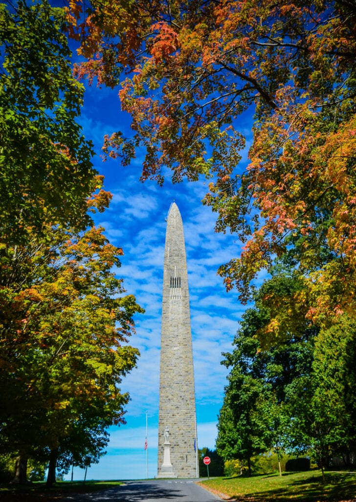 Fall foliage surrounds Bennington Battle Monument