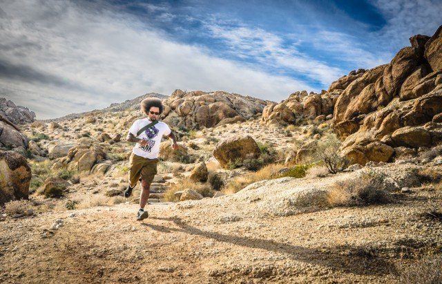 Racing the wind at Joshua Tree National Park, California.