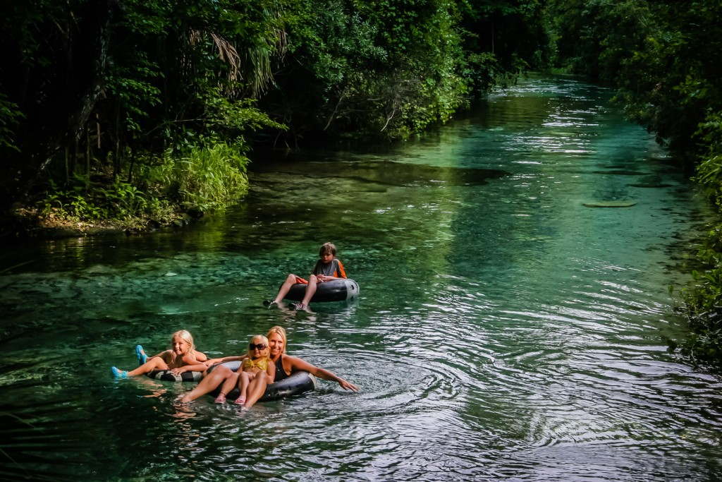Tubing in the clear waters of Rock Springs Run of the Wekiva River, Florida.