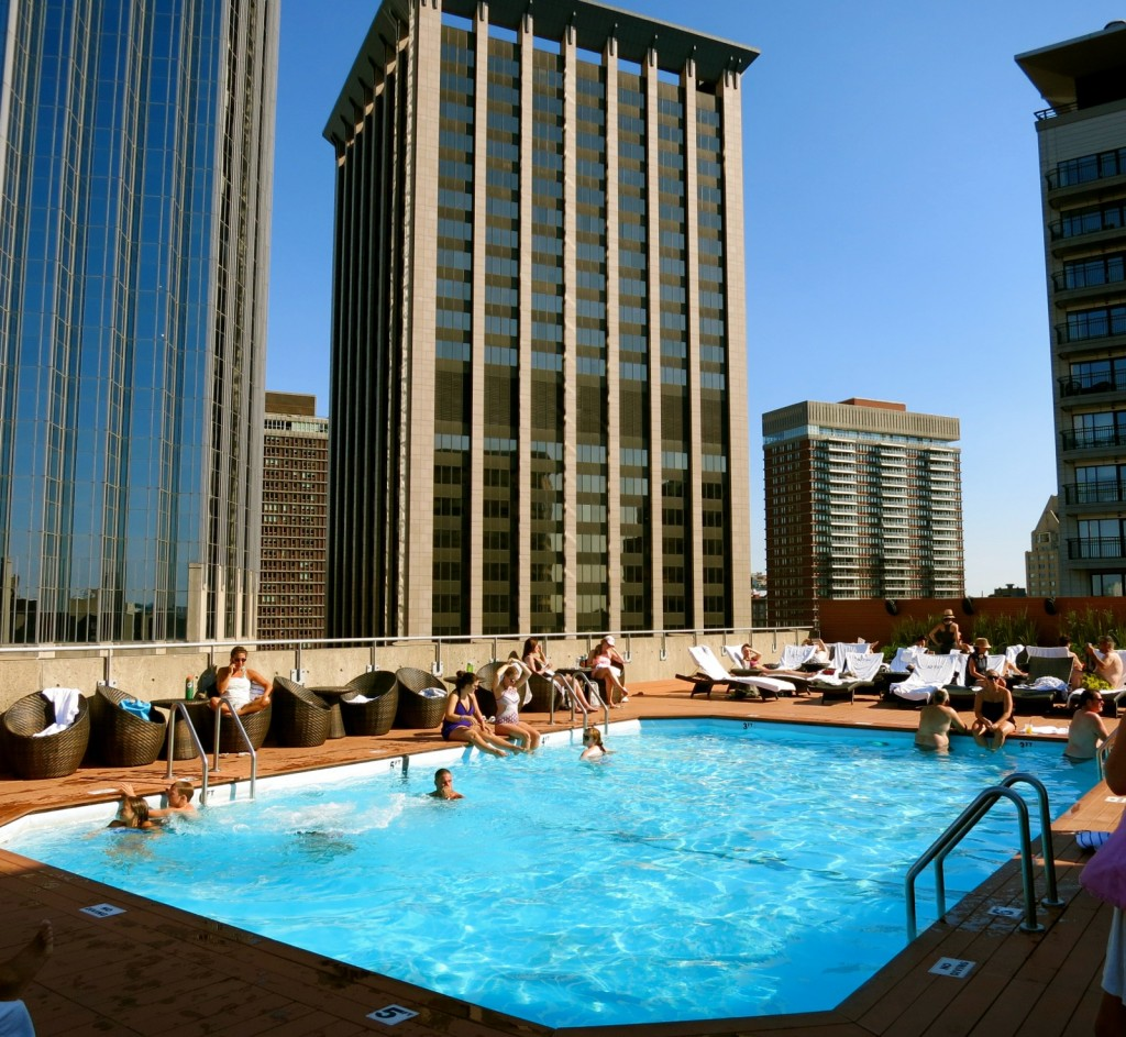 Roof Deck Pool Day Colonnade Hotel Boston