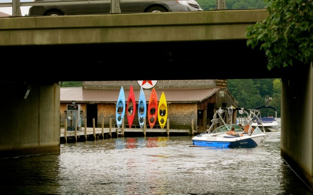 Under bridge, Squam Lake Tour